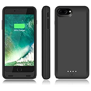 iPhone 7 Plus Battery Case, AexPower 11000mAh Extended Battery Backup Portable Charging Case for iPhone 7 Plus(5.5 inch) External Battery Case Rechargeable Charger Case / Extra 330% Battery -Black