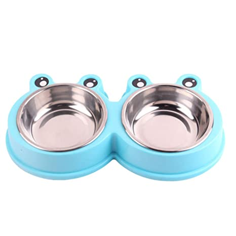 Scrox 1x Cuenco de Perro Gato Alimentos Bowl Dos Acero Inoxidable Combo Comedero para Bebedero Desmontable Comedero para Mascotas (Azul)