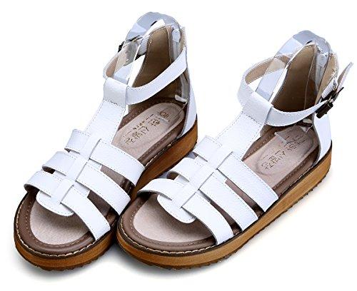 Römersandalen Damen Weiß Leder Flache Boden Peep 5 Mode Reißverschluss Schuhe Schnalle Toe 10 Lässig Dicker 2 UK Komfortable Größe Sommer 5 Damen Knöchelriemen Wealsex Y5nqgv
