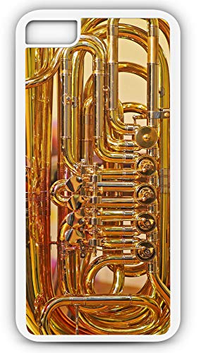 iPhone 8 Case Tuba Valves Shiny Tube Wind Instrument Customizable by TYD Designs in White Plastic ()