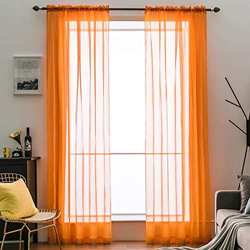 Orange Sheer - MIULEE 2 Panels Solid Color Sheer Window Curtains Elegant Window Voile Panels/Drapes/Treatment for Bedroom Living Room (54X54 Inches Orange)
