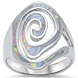 Swirl Design Lab Created White Opal Fashion .925 Sterling Silver Ring Sizes 5-10