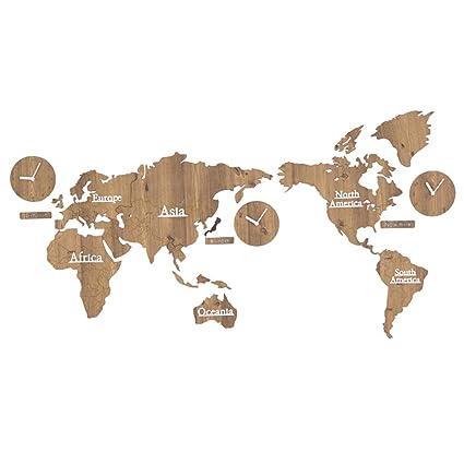 YF-Clock Mapa Mundial Reloj de Pared 3D Reloj Digital de Madera Reloj silencioso Sin