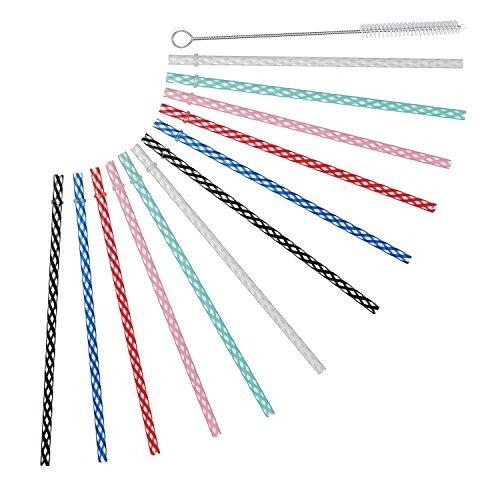 Reusable Plastic Drinking Straws For Yeti, RTIC, Mason Jar, Starbucks, Tervis, OZARK Tumblers, Set of 12 With Cleaning Brush Reusable Drinking Straws