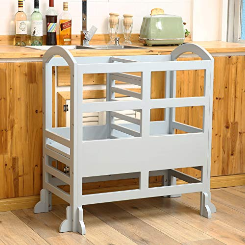 STRUGGLE Kitchen Step Stool Tower Double for Kids,Adjustable Height Learning Stool,Solid Wood Construction Toddler Tower, Gray