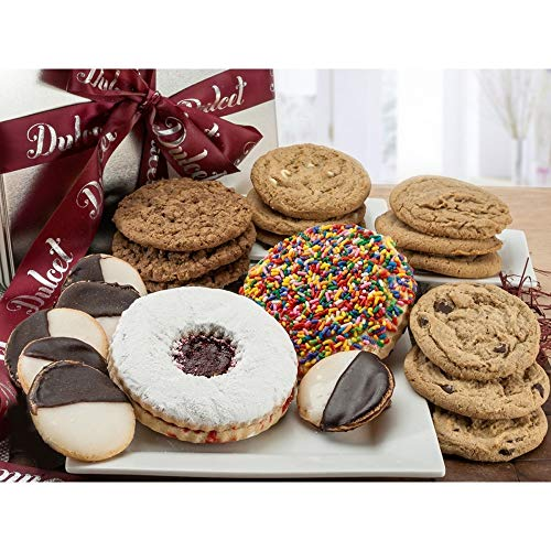 Dulcet Gift Baskets Delightful Cookie Gift Box Assortment with Traditional Black and White - Sprinkle Cookies, - Assorted Flavores The Perfect Gift for Holidays, Birthday, Sympathy, Get Well Wishes or Office Gaterings for Men & Women With Prime Delivery