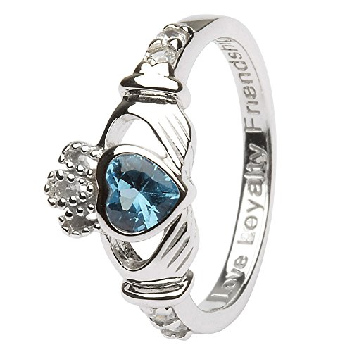 DECEMBER Birth Month Sterling Silver Claddagh Ring LS-SL90-12 - Size: 7 Made in Ireland.
