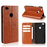 Scheam Flip Wallet Case Compatible with Xiaomi Redmi Note 5A High Configuration Shell Shock Protection with Card Slots Lightweight Premium and Adjustable Stand Brown
