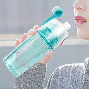 Sports Water Bottle Portable Mist Spray Hydration large Plastic Cooling Bottle for Outdoor Hiking Camping Climbing Traveling (Blue, 400 ML)
