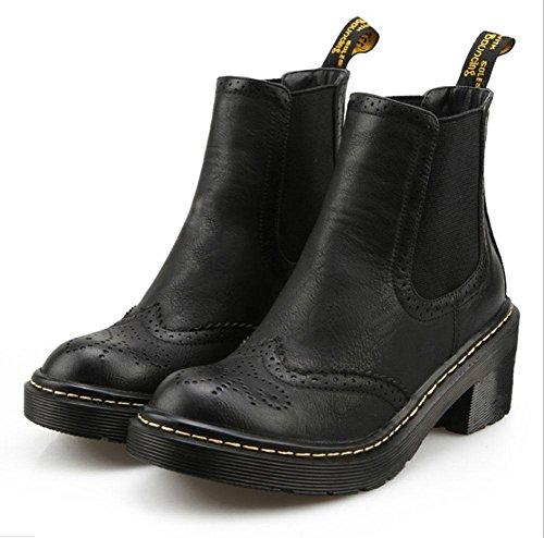 KUKI Botas de mujer, zapatos de plataforma de nieve, tendón en el extremo, cabeza redonda, botas cortas, áspero con, salvaje, Bloque, botas Martin black