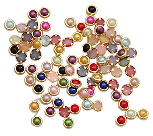 60 PCS Colorful Gilt Peal For Nail Art Decoration, Multicolor(4mm)