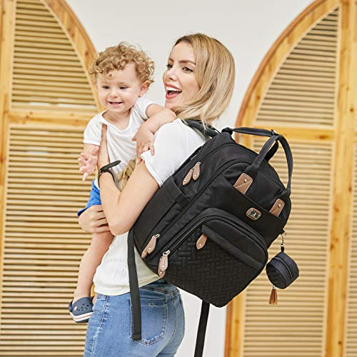 Diaper Bag Backpack with Portable Changing Pad, Pacifier Case and Stroller Straps, Dikaslon Large Unisex Baby Bags for Boys Girls, Multipurpose Travel Back Pack for Moms Dads, Black