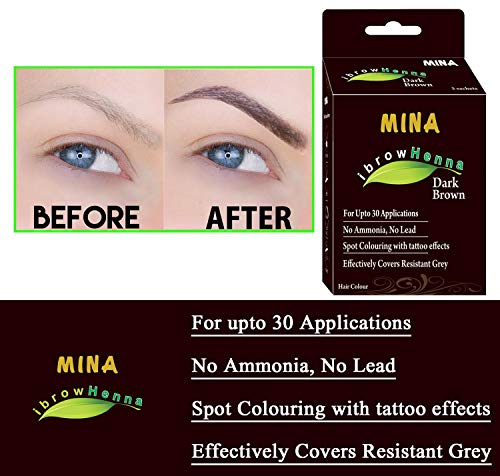 Amazon.com : Mina Eyebrow Henna Dark Brown Regular Pack & Tinting ...