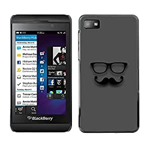 ROKK CASES / Blackberry Z10 / MINIMALIST MOUSTACHE GENTLEMAN / Delgado Negro Plástico caso cubierta Shell Armor Funda Case Cover