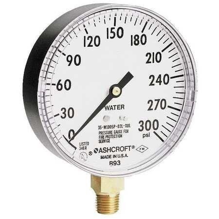 Pressure Gauge, 0 to 300 psi, 3-1/2In