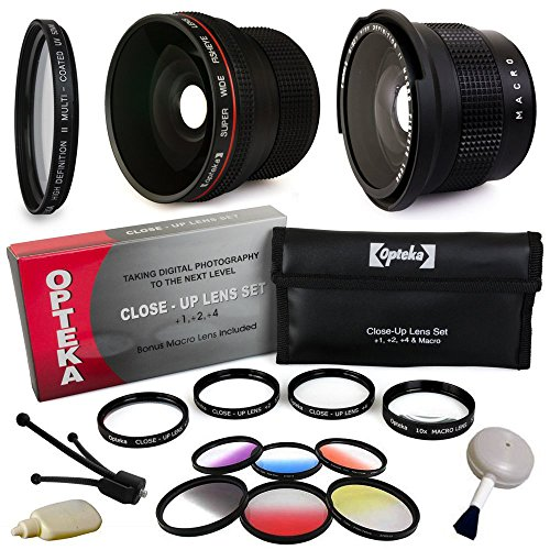 Professional Panoramic Macro Lens & Filters Accessories Bundle for Sony Alpha A5000, A6000, NEX 3N, NEX-3N, NEX-3NL, NEX3NL, NEX 5T, NEX-5T, NEX5T, NEX 5TL, NEX-5TL, NEX5TL, NEX 6, NEX6, NEX-6, NEX 6L, NEX6L, NEX-6L includes Super 0.35x and 0.20X High Definition II Professional Wide Angle Panoramic Macro Fisheye AF Lens + Ultra Violet UV Haze Multi-Coated Glass Filter + 4 Piece Close Up Macro Lens Set + Vivitar 6 Piece Graduated Color Multicoated Filter Set + DSLR Digital Camera Cleaning Set +