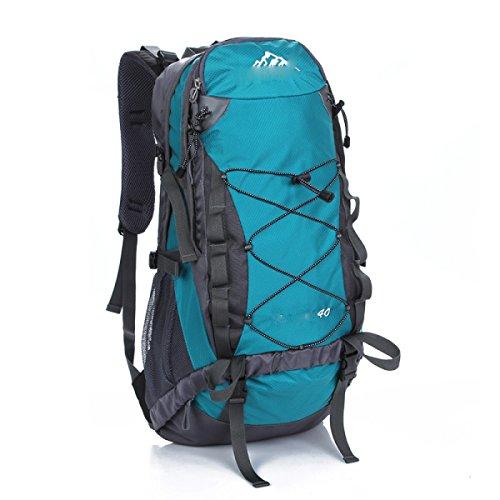 LQABW Hombre De Hombro 40L Del Alpinismo Del Paquete Mujeres Viajan A Prueba De Agua Al Aire Libre Mochila,Green Blue