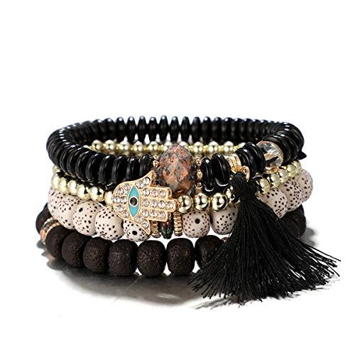 4PC Bracelet Set - Multi Chain with Crystal Charms - Approx 7.4 Inch Bracelet Set for Women (Boho Black) ()