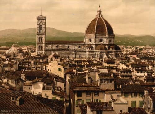 The Cathedral, panoramic view from Vecchio Palace, Florence, Italy 1890s photochrom. photochrom (also called the Aäc process) prints are colorized images produced from black and white photographic negatives via the direct photographic transfer of a negative on to lithographic printing plates. Vintage 8x10 Photograph - Ready to Frame