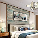 """practicalWs Blue Distressed Wood Peel and Stick Wallpaper 17.71"""" Wide x 236.2"""" Long"""