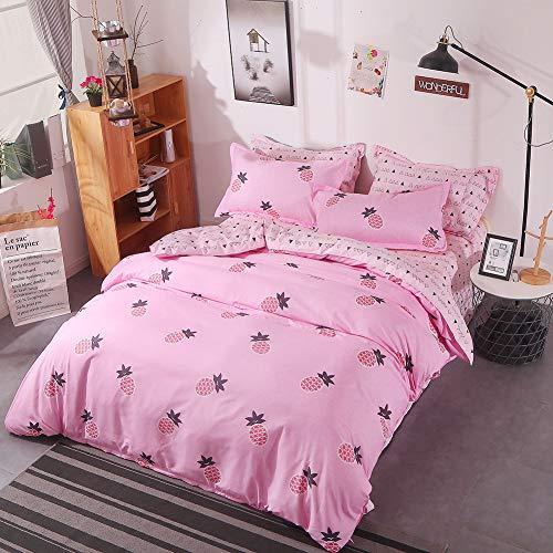 (Girls Blush Pink Comforter Queen with 1 Comforter Cover 1 or 2 Pillow Covers 1 Flat Sheet-3 or 4pcs with Pattern Printed Tropical Fruit Pineapple Duvet Set-Soft Reversible Bedding Whith Zipper Ties)