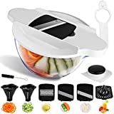 Mandoline Slicer Spiralizer Vegetable Slicer, Juicer-Veggie Slicer With Bowl Container-Food Grater-Julienne Slicer-Zoodle Maker, Spiral Slicer Cutter