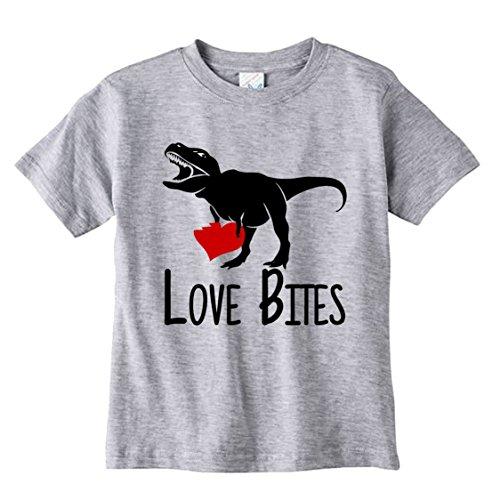 NanyCrafts Love Bites T-Rex Dinosaur Kid's shirt 7/8Y Heather - 923 Heather