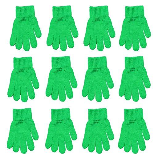 Children Warm Magic Gloves 12 Pairs Teens Winter Gloves Boys Girls Knit Gloves(7 to 16 years old) (Green)