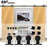 WINSOON Sliding Door Hardware Modern Interior Steel Hanging Double Door Rails Wheel Closet Track Kit (6FT /72'' 2 Doors Track Kit)