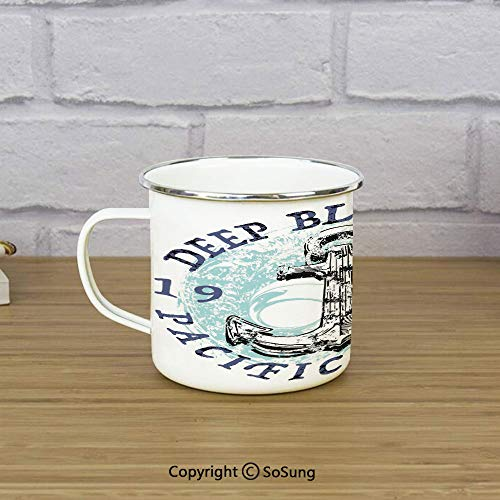 Anchor Enamel Camping Mug Travel Cup,Deep Blue Sea Pacific Coast Vintage Emblem from 1976 Grungy Display Decorative,11 oz Practical Cup for Kitchen, Campfire, Home, TravelDark Blue Pale Blue Black