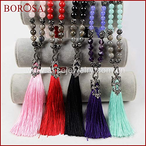 (Gimax Handcrafted Natural Stone Tassel Pendant Necklace,Rhinestone Pave Multi-Kind 10mm Gems Stone Beads Necklace JAB764 - (Metal Color: only 2 Pieces) )