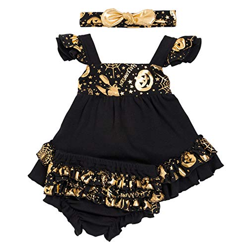 Hoter Baby Girls Halloween Bronzing Dress Top and Shorts with Headband Set(S-XL)