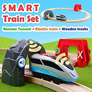 Battery Operated Action Locomotive Train & Wooden Train Track & 2 Smart Action Tunnels - 13 Piece Train Toy with Accessories and Wooden Tracks for Kids Age 3 and Up