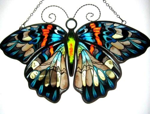 Stained Glass Suncatcher 10.25'' X 7'' Erasmia Pulchella Butterfly