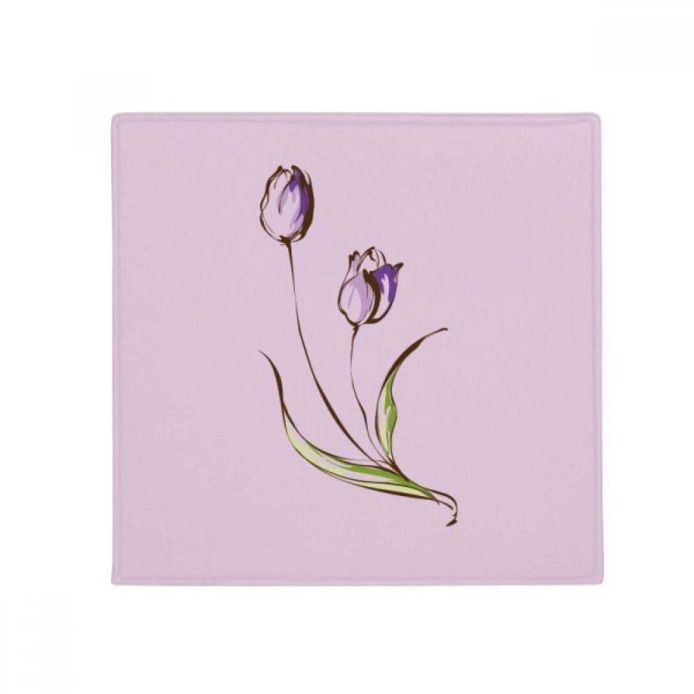 DIYthinker Purple Flower Plant Tulip Greenery Anti-Slip Floor Pet Mat Square Home Kitchen Door 80Cm Gift