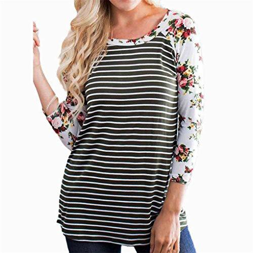 Women Blouse,Haoricu Fall New Women Fashion Three Quarter Floral Striped Splicing T-Shirt Casual Tops