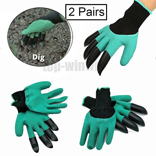 Garden Genie Gloves with 4 ABS Plastic Claws for garden Digging Planting, 2 packs