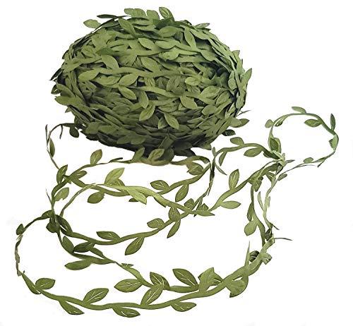 BECOR Artificial Vine Leaves Green Ribbon 220 Feet Long Fake Foliage Greenery DIY Rattan Leaf Plant Garland Wreaths Wedding Party Home Decor ()