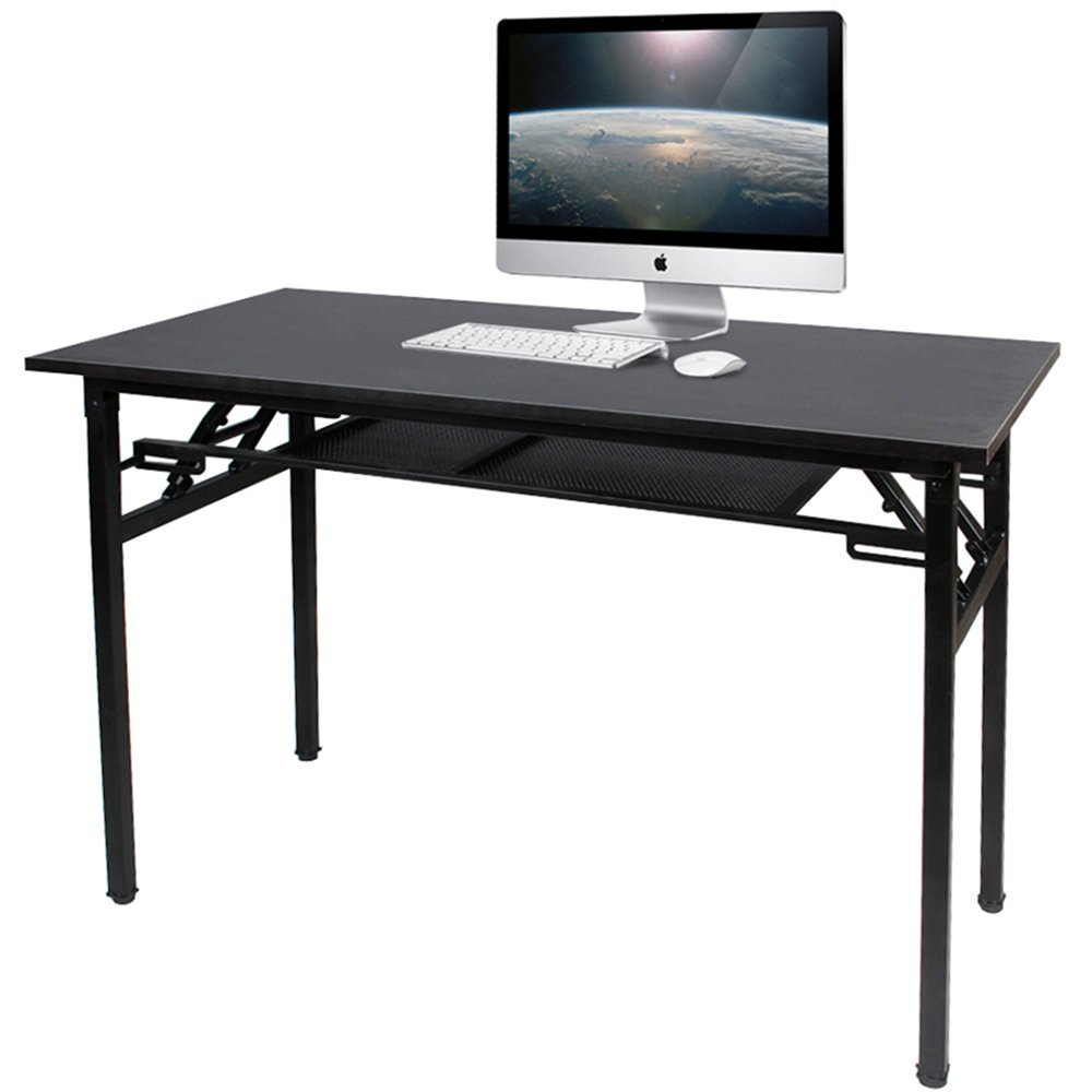 DlandHome 47'' Medium Home Office Computer Desk, No Install Needed, Composite Wood Board, Folding Table with Storage Layer/Workstation, ND7-120BB Black & Black Legs, 1 Pack
