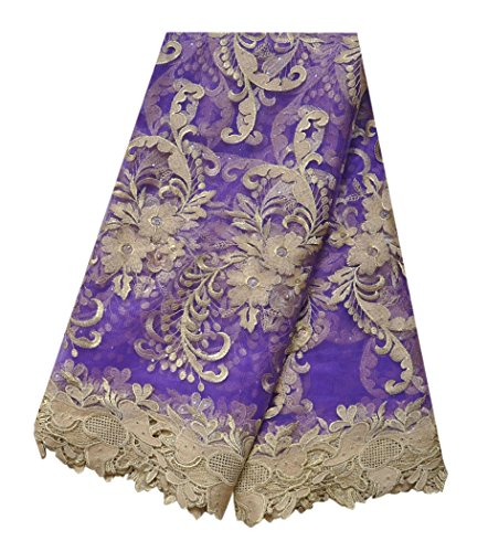 SanVera17 African Lace Net Fabrics Nigerian French Fabric Embroidered and Beading Guipure Cord Lace for Party Wedding (purple) 5 Yards us-fabric-025-6 by SanVera17