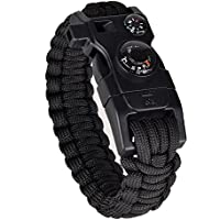 Veture Paracord Bracelet 15-in-1 Emergency Survival Kit with Multitools (Scraper, Compass, Thermometer, Fire Starter and Whistle) for Ourdoor Camping Hiking
