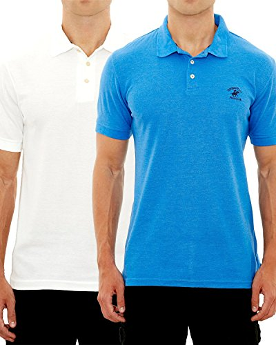 - Beverly Hills Polo Club Men's Pique Polo with Horse Logo (2 Pack), White/Blue, Large'