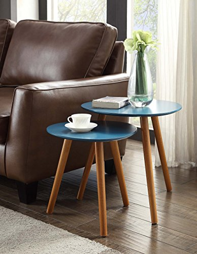 Convenience Concepts Oslo End Table, Blue/Natural