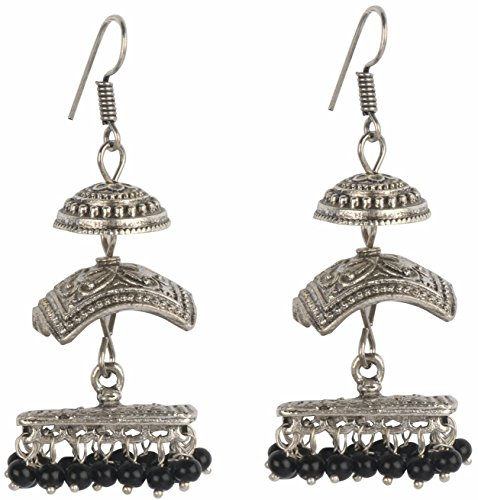 od Three Level Beaded Oxidized Silver Plated Jhumkas Jhumki Indian Earrings Jewelry for Girls and Women ()