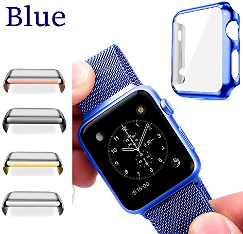 Josi Minea Apple Watch [42mm] Protective Snap-On Case with Built-in Clear Glass Screen Protector - Anti-Scratch & Shockproof Shield Guard Full Cover for Apple Watch Series 2-42mm [ Blue ]