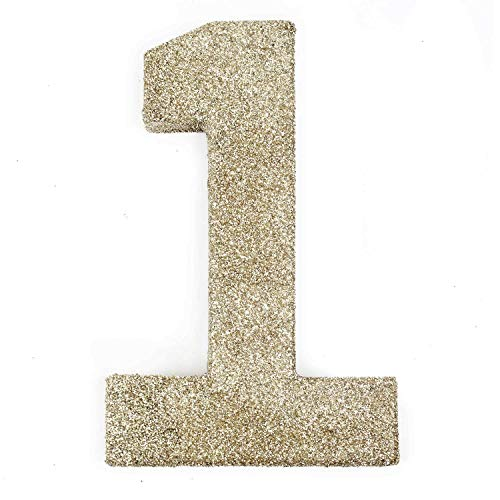 8 inch White Gold Glitter Number 1 Photo Prop for 1st First Birthday (1 Photo Prop)