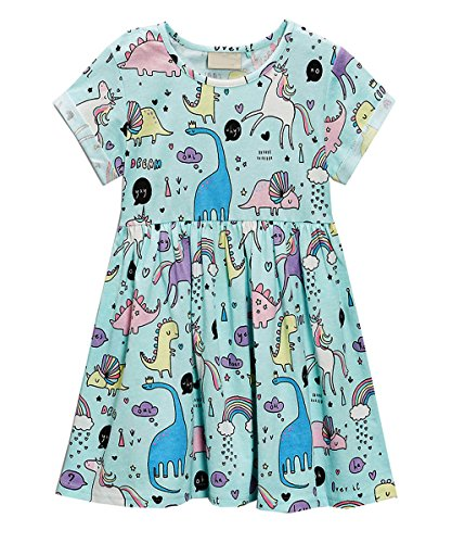 JiaYiYi Girls Dinosaur Casual Dresses Cotton Summer Short Sleeve Skirt Dress for Kids Size 2T-7T (7, Blue) by JiaYiYi