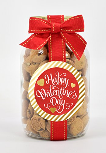 Nams Bits Chocolate Chip Cookies Glass 10oz Jar - Red & Gold Happy (Sweets Cookie Jar)
