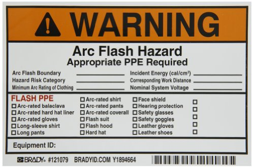 "Brady 121079 Vinyl Write-On Arc Flash Labels (Warning) , Black/Orange On White,  4"" Height x 6"" Width,  Legend ""Warning Arc Flash & Shock Hazard Appropriate Ppe Required Flash Protection Boundary____...,  Etc."" (5 Labels per Package)"