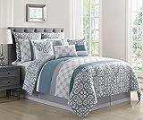 Blue and White King Comforter 10 Piece Tatiana Blue/Gray/White Comforter Set King